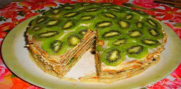 Торт черепаха с бананами рецепт с фото